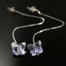 Provence Violeta Cristal Mariposa Plata 925 Aretes Bridesmaids Boda