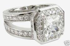 2.10CT ASSCHER CUT G/H VS2 PAVE DIAMOND ENGAGEMENT RING