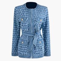 2019FW Damen Designer Inspiriert Denim Blumenmuster Mantel Blazer Outwearlinie