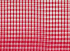 Red / White Polyester Check Fabric