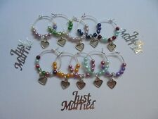 20 Wine Glass charms - mixed colours & heart charm - Hen Day or Wedding Favour