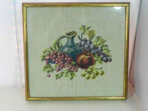 "Vintage Needlepoint Art Framed Fruit Pitcher Scene 12"" h x 12 3/4"" w  Goldtone"