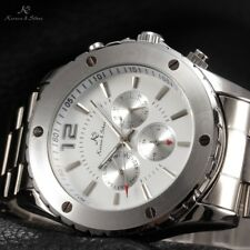 KS Mens 6 Hands Automatic Mechanical White Date Stainless Steel Wrist Watch