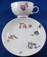 Antique 18thC Meissen Porcelain Floral Cup & Saucer Porzellan Tasse German #2