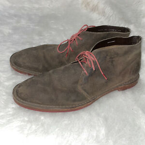 COLE HAAN Brown Suede Leather Chukka Ankle Boots Men's Sz 12 M red Lace up