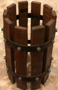 "Vintage Wooden Basket Wrought Iron Wine Grape Press Cider Apple press 12x7x7"""