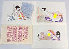 3 Farbholzschnitte auf Reispapier Shunga Blätter Japan 20. Jh.  Erotik 99850012