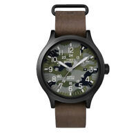 Timex Men's Expedition Scout 43mm Leather Strap Watch (Black/Brown/Camo)