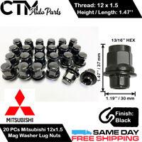 Krator 24pc Black 12x1.5 Wheel Lug Nuts 21mm Hex Mag Seat Overall Length 1.45