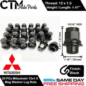 20PC MITSUBISHI BLACK 12X1.5 MAG SEAT WASHER LUG NUTS FOR MITSUBISHI MODELS