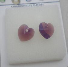Crystal Passions Swarovski Heart Drop - 10mm Cyclamen Opal Purple (Set of 2)