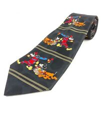 MICKEY UNLIMITED Black Gold Stripe Neck Tie With Mickey Mouse Pluto Goofy Picnic