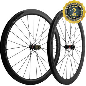 SUPERTEAM Road Bike Disc Brake 45mm Cyclocross Bicycle Wheelset Thru Axle UD Mat