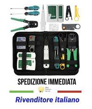 KIT TESTER CAVO DI RETE LAN RJ45 RJ11 RJ12 + PINZA CRIMPATRICE + PLUG + CUSTODIA