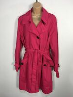 BNWT WOMENS MARKS & SPENCER UK 20 HOT PINK BELTED LIGHTWEIGHT RAIN MAC COAT £35