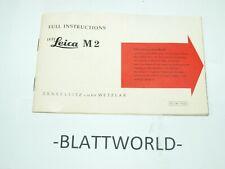 Leitz Leica M2 Camera Original Instruction Manual Guide Reference Book