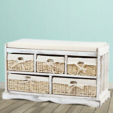 Vintage White Seating Bench Cushion Storage Chest of Drawers 5 Wicker Baskets