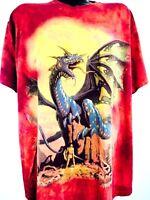 Vintage Dragon Shirt Sword Dagger Fantasy Metal Doom Magic Viking 90s XL