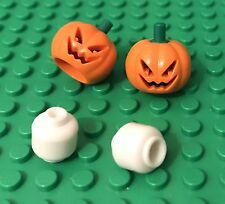 Lego X2 Jack O' Lantern Pumpkin Headgear With Glow In The Dark Plain White Heads