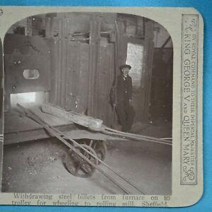 Scarce c1905 Stereoview Photo Industrial Social History Sheffield Steel Billets