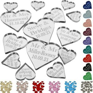 Personalised Wedding Favours Mini Love Heart Confetti Mr & Mrs Table Decorations