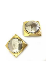 100% Authentic GUCCI Gold/Silver Tone Square Clip On Earrings /40597