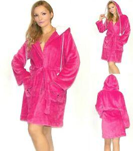 NWT Joe Boxer Plush Hooded Robe with Kitty face pockets S,M,L,XL, Fuchsia Pink