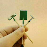 3Pcs 1:12 Dollhouse Miniature Home Gardening Tools Tools Hoe Craft Shovel R R0O9