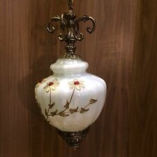 Vintage MCM Hollywood Regency Glass and Brass Pendant Swag Lamp