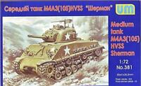 US MEDIUM TANK M4A3 (105) HVSS SHERMAN WWII 1/72 UNIMODEL UM 381
