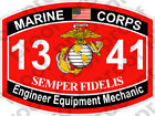 STICKER USMC MOS 1341 Engineer Equipment Mechanic   ooo   USMC Lisc No 20187