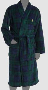 $149 Polo Ralph Lauren Men's Green Plaid Pajama Shawl-Collar Robe S/M **NO TIE**