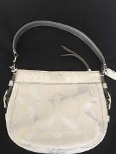 Coach Zoe A0973-42715 Silver Ivory Canvas/Leather Small Handbag Purse Pouch