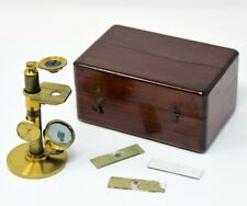 Antique French Botanist's microscope in a fitting case, ~1870