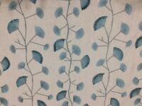 "Embroidered Lined Taupe Sage Green Upholstery Fabric 1 3/4 Yds X 56"" Wide"