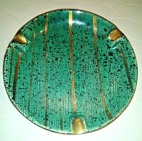 Mid-Century Modern Speckled Green Gold Pottery Ashtray Cigarette Cigar Ash Tray