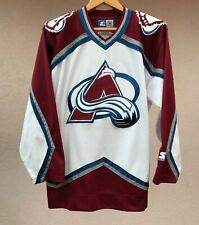 COLORADO AVALANCHE ICE HOCKEY SHIRT JERSEY STARTER WHITE NHL CAMISETA USA MAGLIA