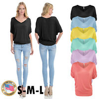 Women's Solid Basic V-neck Top with 3/4 Sleeve Shirring Made in USA S,M,L