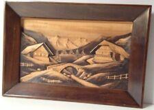 Tableau Bois Sculpté En Relief Signé CLÉAL -Tableau 3D Chalet Montagne - Vintage