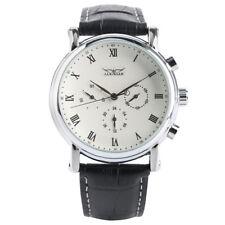 JARAGAR Mens Automatic Wrist Watches Mechanical Black Genuine Leather Bracelet