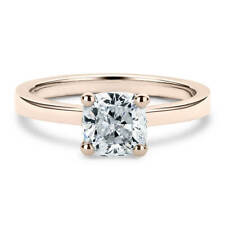 14K Rose Gold 1 Carat Cushion Cut Moissanite Classic Solitaire Engagement Ring