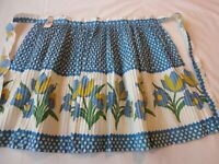 Vintage 1950's Half  Apron Blue Floral Print Accordion Pleated New w/ Tag