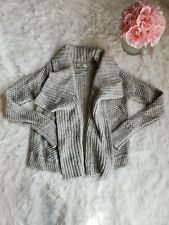 Ann Taylor Loft Cardigan Light Gray Wool Open Knit SZ XS
