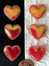 20 Hearts heart Iridescent Red valentines Valentine fabric Embellishment cards