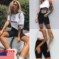 US Women Ladies Bicycle Elastic Stretch Shorts Sport Shorts Tights Casual Shorts