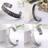 Stainless Steel Runes Viking Norse Bangle Irish Celtic Knots Wiccan Bracelet