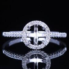 Diamond Jewelry 10K White Gold 6mm Round Halo Engagement Fine Ring Semi Mount
