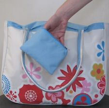 BEACH BAG Cream & Blue with Red Pink & Blue Flowers,Huge,Tote,big,hand,NEW