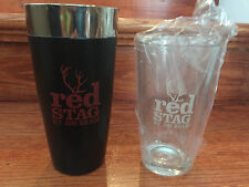 BRAND NEW RED STAG BOURBON BY JIM BEAM SHAKER SET WITH PINT GLASS AND SHAKER