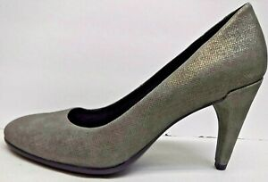 Ecco EUR 40 US 9 9.5 Gray Leather Pumps Heels New Womens Shoes